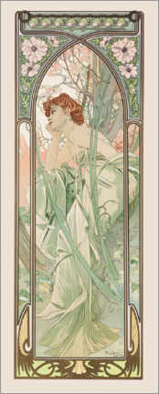 Canvas print  The Times of the Day - Evening Contemplation - Alfons Mucha