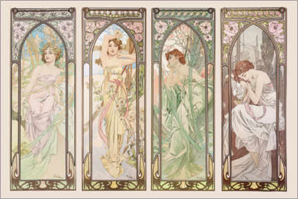 Canvas print  The Times of the Day - Alfons Mucha