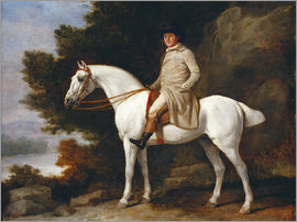 George Stubbs - A Gentleman on a Grey Horse in a Rocky Wooded Landscape, 1781