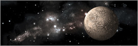 Marc Ward - A heavily cratered moon alone in deep space.