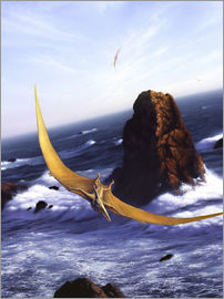 Jerry LoFaro - A Pteranodon soars above the ocean and rocks.