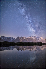 Roberto Moiola - A sharp Milky Way on a starry night at Lac des Cheserys with Mont Blanc, Europe's highest peak, to t