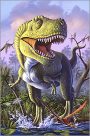 Jerry LoFaro - A Tyrannosaurus Rex crashes through a swamp.