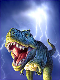 Jerry LoFaro - A Tyrannosaurus Rex with a blue stormy sky and lightning behind it.