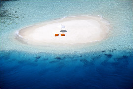 Sakis Papadopoulos - Aerial view of a sandbank, pillows and sun umbrella , Maldives, Indian Ocean, Asia