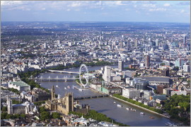 Peter Barritt - Aerial view of the Houses of Parliament, Westminster Abbey, London Eye and River Thames, London, Eng