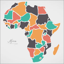 Ingo Menhard - Africa map modern abstract with round shapes