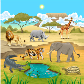 Kidz Collection - African animals in a savannah