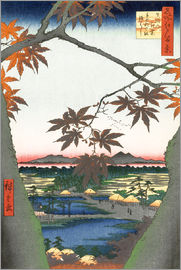 Utagawa Hiroshige - Maple leaves, the Tekona shrine and the bridge