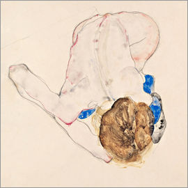 Egon Schiele - Nude with blue stockings