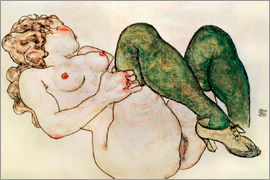 Egon Schiele - Nude with green stockings