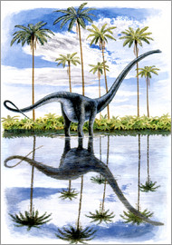 Alamosaurus with palm trees
