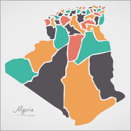 Ingo Menhard - Algeria map modern abstract with round shapes