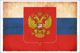 Christian Müringer - Old flag of Russia with coat of arms in grunge style