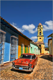 Bill Bachmann - Old Classic Chevy on cobblestone street of Trinidad, Cuba