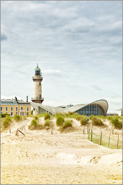 Old lighthouse and Teepott building at Warnemünde