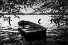 Frank Herrmann - Old boat under trees - black white