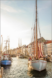 Christian Müringer - Old sailing boat in evening light in Nyhavn in Copenhagen. Denmark