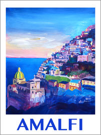 M. Bleichner - Amazing Amalfi Coast At Sunset IV - Retro Poster Vintage Style