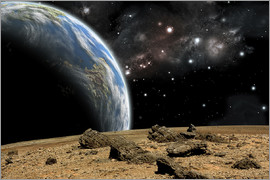 Marc Ward - An Earth-like planet rises over a rocky and barren alien world.