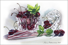 Maria Mishkareva - Watercolor Cherry bowl