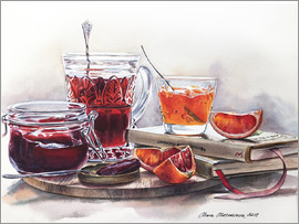 Maria Mishkareva - Watercolor still life with Jam jars