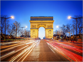 Jan Christopher Becke - Arc de Triomphe and Champs-Elysees at night in Paris France