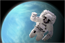 Marc Ward - Artist's concept of an astronaut floating in outer space by a water covered planet.