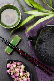 Asian sushi chopsticks, tea and teapot
