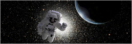 Marc Ward - Astronaut floating in deep space with an Earth-like planet in background.