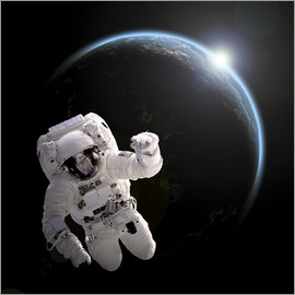 Marc Ward - Astronaut floating in space as the sun rises on an Earth-like planet.