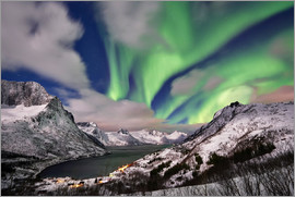 Jürgen Ritterbach - Aurora Borealis or northern lights over winter landscape