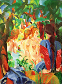 August Macke - Bathing Girls with Town in the Background