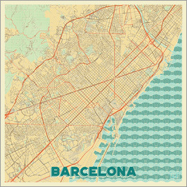 Hubert Roguski - Barcelona Map Retro