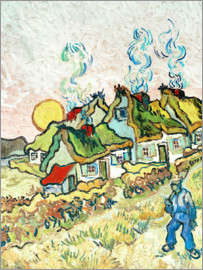 Vincent van Gogh - Farmhouses at sunset