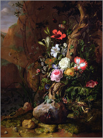 Rachel Ruysch - Tree trunk surrounded by flowers, butterflies and animals
