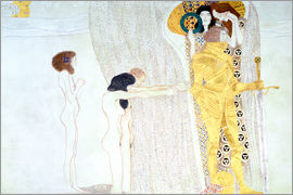 Gustav Klimt - Beethoven Frieze, desire for the luck