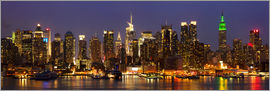 Illuminated New York skyline at night