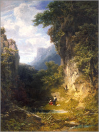 Carl Spitzweg - Mountain gorge with bathing women