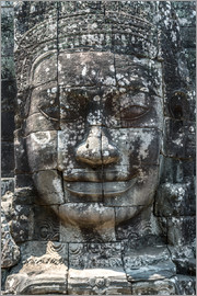 Matteo Colombo - Big Buddha face carved in stone, Angkor Wat temples, Cambodia