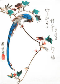Utagawa Hiroshige - Blue magpie on maple branch