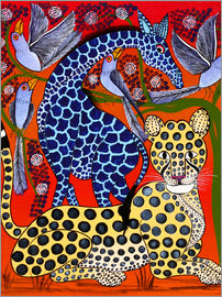 Omary - Blue Giraffe with cheetah