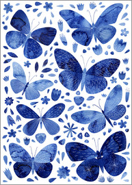 Nic Squirrell - Blue Butterflies Watercolor Painting