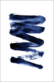 Johanna von Pulse of Art - Blue lightning, Abstract acrylic lines in blue on white