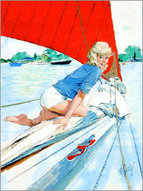 Al Buell - Blonde Pin Up on Sailboat