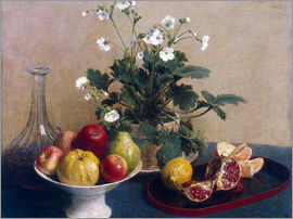 Henri de Fantin-Latour - Flowers, dish with fruit and carafe