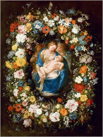 Jan Brueghel d.Ä. - Flowers wreath with virgin, child and two angels