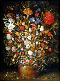 Jan Brueghel d.Ä. - Large bouquet of flowers in a wooden tub