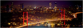 gn fotografie - Bosporus-Bridge at night - red (Istanbul / Turkey)