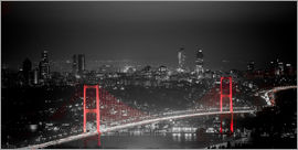 gn fotografie - Bosporus-Bridge at night - color key red (Istanbul / Turkey)